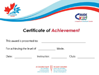 CanoeKids Certificate of Achievement